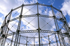 Metal construction. Round metal construction over cloudy sky background Stock Images