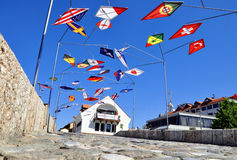 Metal construction with flags, Prizren Royalty Free Stock Photo