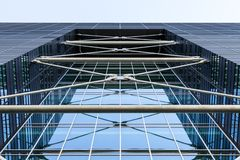 Metal construction of a modern building. Architectural details of a modern high-rise building stock photos