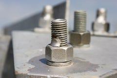 Metal construction with screws Stock Photos