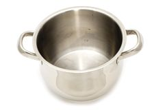 Metal cooking pan. Object on white - kitchen utensil - metal cooking pot Royalty Free Stock Photography