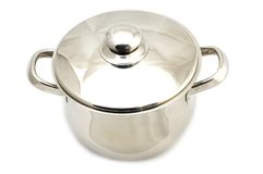 Metal cooking pot. Object on white - kitchen utensil - metal cooking pot Stock Image