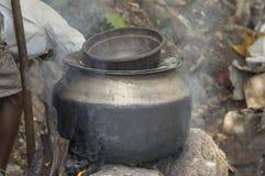 Metal cooking pot Stock Images