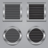 Metal cooling squares and circles. Fastened by bolts Stock Photo