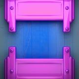 Metal cor-de-rosa e fundo de madeira azul Foto de Stock Royalty Free