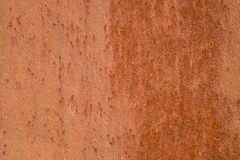 Metal corrosion. Orange gentle structure of oxidation on welded seam. Royalty Free Stock Photography