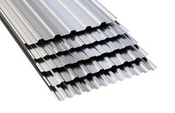 Metal corrugated roof sheets stack. Stock Photography