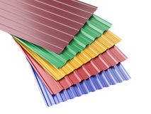 Metal corrugated roof sheets stack, with various colors. Stock Image