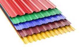 Metal corrugated roof sheets, with various colors. Stock Image