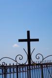 Metal cross on a fence in Thira, Santorini, Greece Stock Image