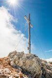 Metal cross on mountain top Royalty Free Stock Images
