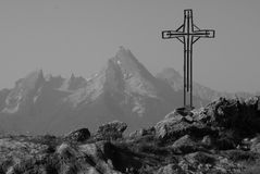 Metal cross and view of Watzmann Royalty Free Stock Image