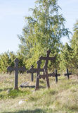 Metal crosses at graveyard Royalty Free Stock Image