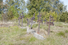 Metal crosses at graveyard Royalty Free Stock Image