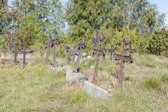 Metal crosses at graveyard Royalty Free Stock Photo