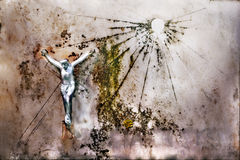 Metal crucifix on an old white marble plate Royalty Free Stock Photography
