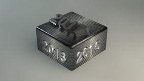 2017 2016 2015 METAL CUBE 3D. 2017 2016 2015 METAL CUBE in 3D concept royalty free illustration