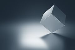 Metal Cube. On metal table with copy space. 3d render Stock Photo