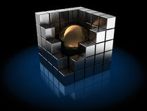 Metal cubes. Abstract 3d illustration of metal cube with sphere inside Royalty Free Stock Photography