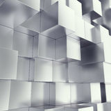 Metal cubes abstract background with depth of field effect. 3d illustration Stock Photos