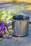 Metal cup for a hike Stock Photography