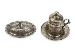 Metal cup and sugar bowl Stock Photos