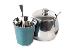 Metal cup and sugarbowl Stock Photos
