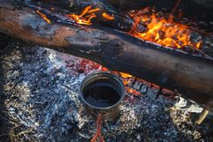 Metal Cup with tea is heated from the campfire in winter stock photo
