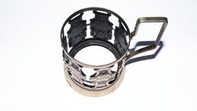 Metal cupless cup. Metal art cup without cup Royalty Free Stock Photography