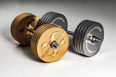 Metal currency dumbbells. 3d image of silver metal euro dumbbell and gold metal dollar dumbbell concept. 3D render Royalty Free Stock Photography