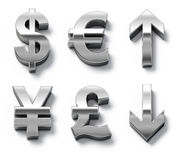 Metal currency symbols and arrows Stock Image