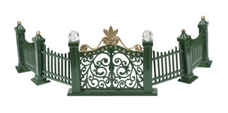 Metal Curved Fence. With scrollwork painted green - path included Stock Photos