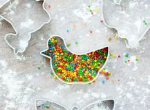 Metal cutter chicken for traditional festive cookies with sugar Stock Photography