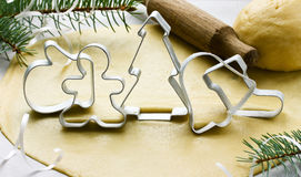 Metal cutter for Christmas cookies: gingerbread man, spruce, glo Stock Photography