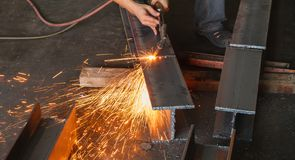 Metal cutter, steel cutting with acetylene torch. Royalty Free Stock Photo