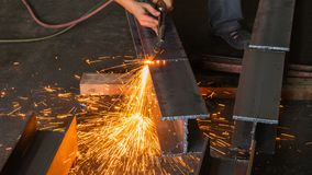 Metal cutter, steel cutting with acetylene torch. Stock Photography