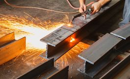 Metal cutter, steel cutting with acetylene torch. Royalty Free Stock Image