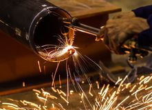 Metal cutting with acetylene torch Royalty Free Stock Image
