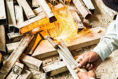Metal cutting with acetylene torch Stock Photo