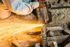 Metal cutting with acetylene torch Stock Images