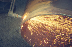 Metal cutting with acetylene torch. Stock Photo