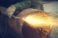 Metal cutting with acetylene torch. Royalty Free Stock Photography
