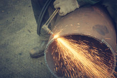 Metal cutting with acetylene torch. Royalty Free Stock Images
