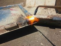 Metal cutting flame Stock Image