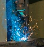Metal cutting. Metal cutting in a gas flame Stock Photos