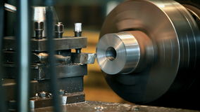 Metal cutting on a lathe. Process of metal cutting on a lathe  tripod Close to stock video