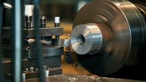 Metal cutting on a lathe stock video