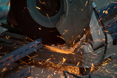 Metal cutting or welding in manufactory Stock Photo