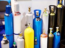 Metal cylinders for compressed gases. On store stock image