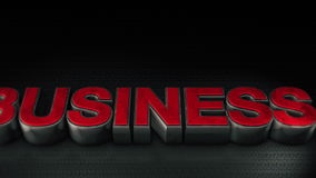 Metal 3d Business text with reflection stock footage